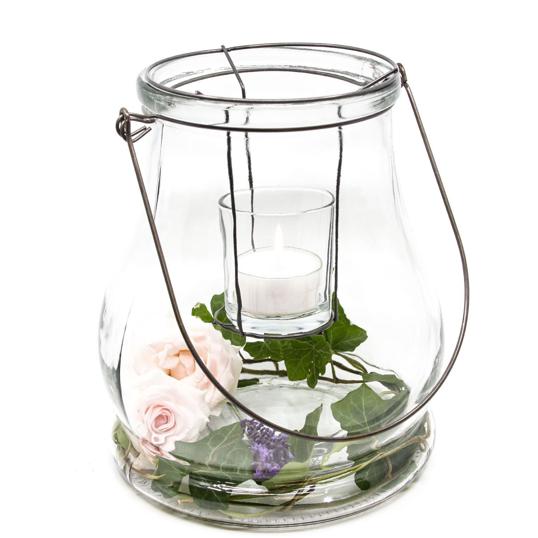 Windlicht Teelicht Deko Glas mit Henkel